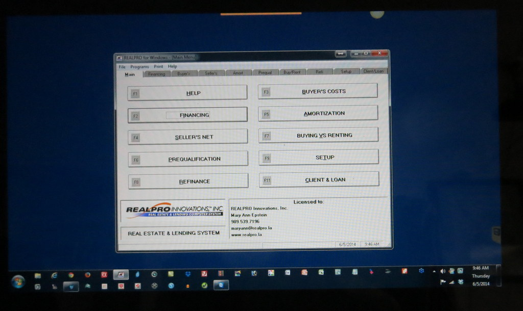 REALPRO for Windows on a Laptop
